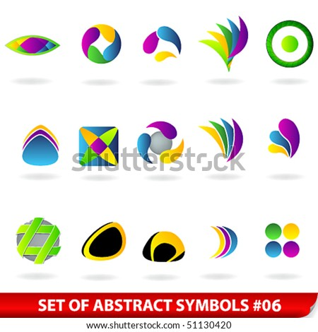 Vector set of colored abstract symbols