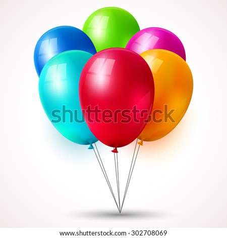 Vector set of colored balloons. - stock vector