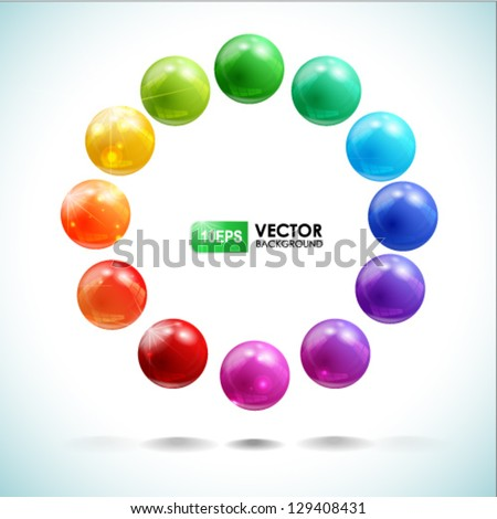 Vector set of colored balls - stock vector