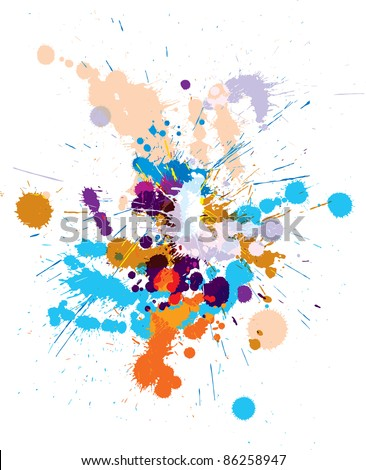 Vector set of colored blots on the white background - stock vector