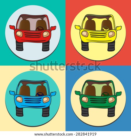 Vector set of colored cars. Front view, isolated. - stock vector