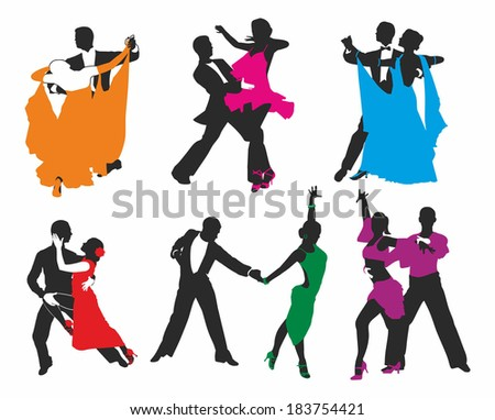 vector set of colored dancing couples - stock vector