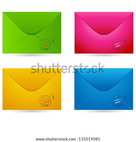Vector set of colored envelopes