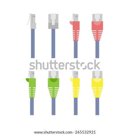 Vector set of colored outline ethernet connectors
