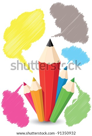 vector set of colored pencils and bubbles - stock vector