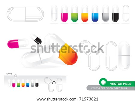 Vector Set Of Colored Pills - stock vector