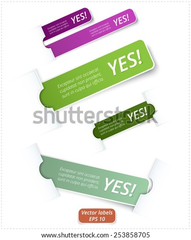 Vector set of colored rectangle labels with rounded corners, confirmation of right choose, isolated business motivation messages on a white background - stock vector