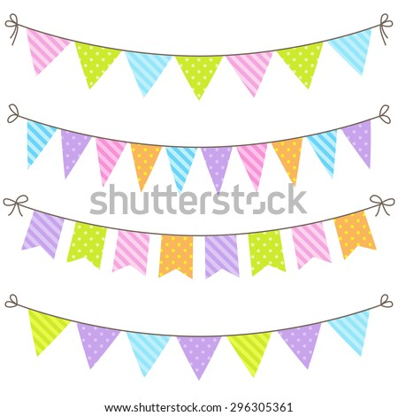 Vector set of colorful and bright bunting