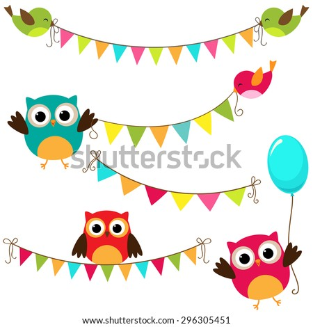 Vector set of colorful and bright bunting with birds - stock vector
