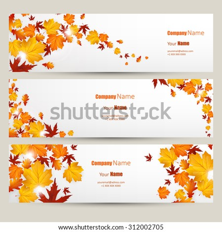 Vector set of colorful autumn leaves banners illustration  - stock vector