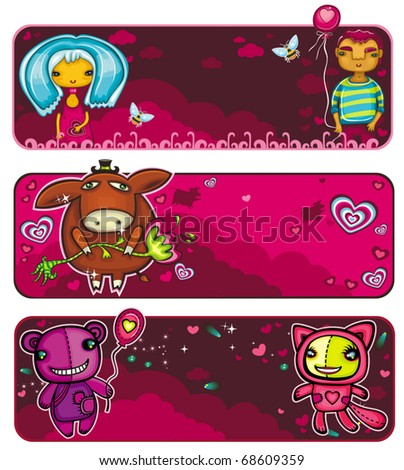 vector set of colorful, cartoon Valentine banners: A couple in love on a date, Cute donkey with a flower, funny animals bear and cat on date Beautiful backgrounds with sunset sky, bees, and flowers - stock vector