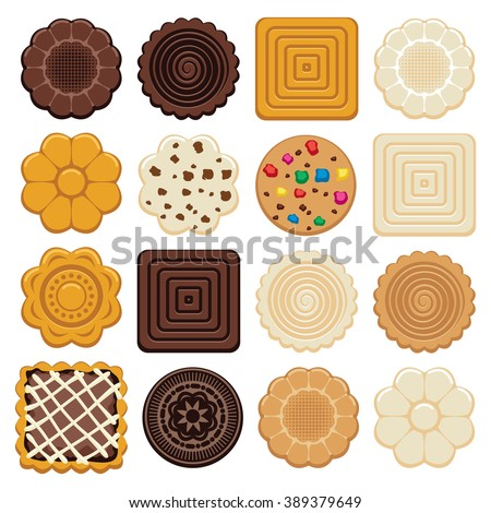 vector set of colorful chocolate and biscuit chip cookies of different shapes on white background