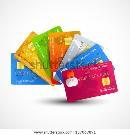 Vector set of colorful credit cards - stock vector