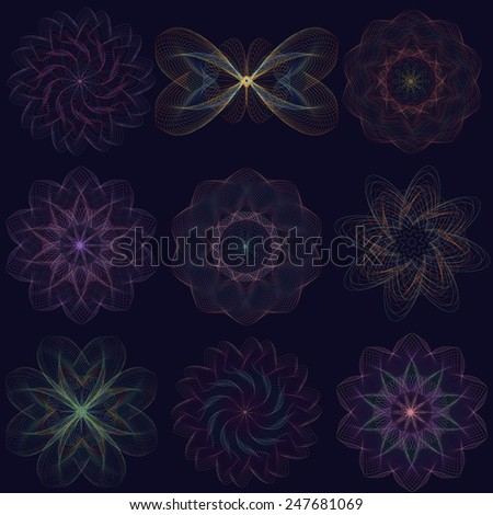 Vector set of 9 colorful elements for design ( butterfly,circle, flowers,swirl, spiral). - stock vector