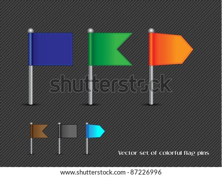 Vector set of colorful flag pins-Vector - stock vector