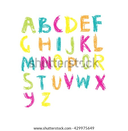 Vector set  of colorful handwritten, scribble font isolated on white background. kids alphabet