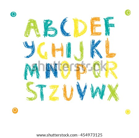 Vector set of colorful handwritten, scribble font isolated on white background. kids alphabet - stock vector