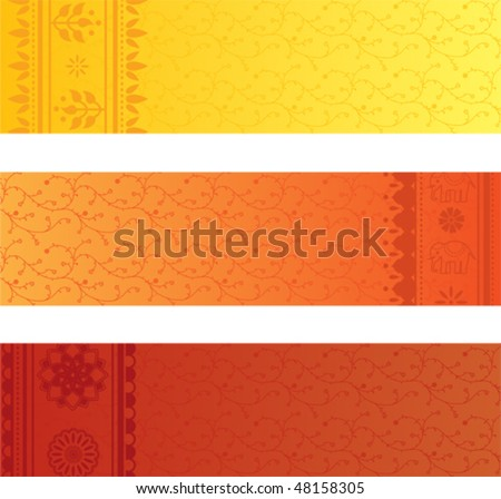 Vector set of 3 colorful indian sari banners