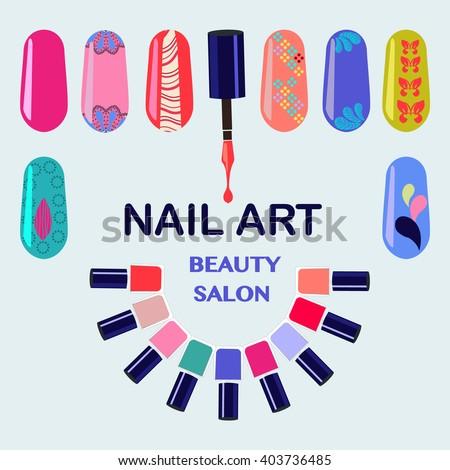 Vector Set of colorful nail polish bottles. Nails art beauty salon background - Illustration - stock vector