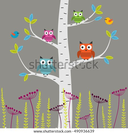 Vector set of colorful owls and birds on the tree on a gray background