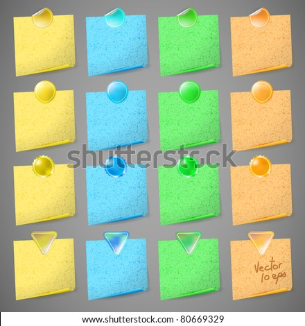 vector set of colorful paper notes - stock vector