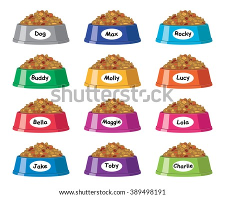 vector set of colorful plastic dog bowls with dog food and popular dog names - stock vector