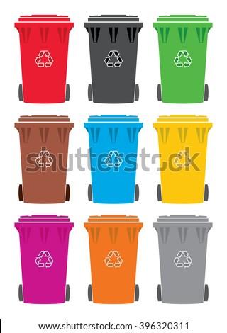 vector set of colorful recycling wheelie bin icons - stock vector