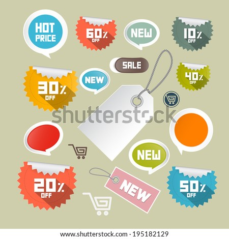 Vector Set of Colorful Retro Paper Discount Labels, Tags