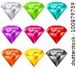 Vector set of colorful shiny jewels. - stock