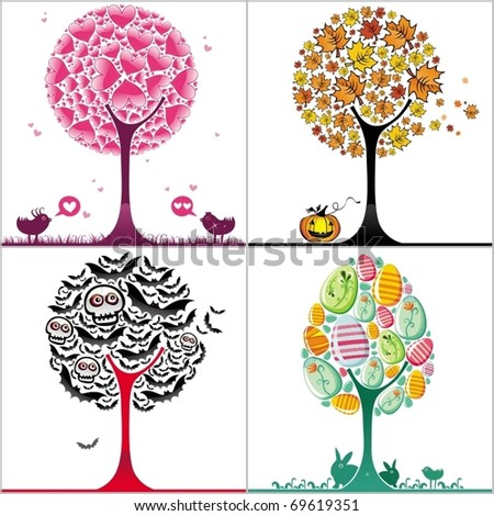 vector set of colorful stylized trees: Valentine's day heart tree, autumnal tree with fallen leaves, Halloween bats tree, and colorful easter egg tree, with cute bunnies. - stock vector