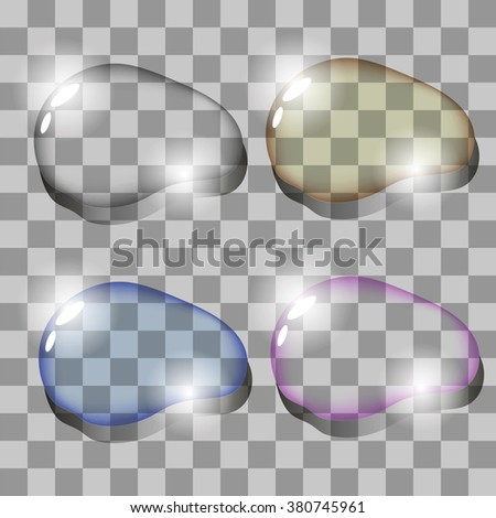 Vector Set of Colorful Water Drops - stock vector