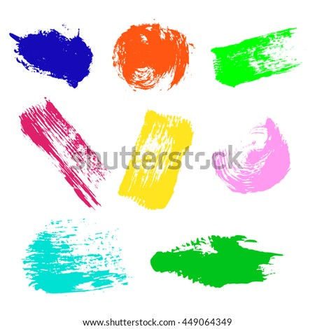 Vector set of colorful watercolor blots and brush strokes, isolated on the white background. Series of elements for design. - stock vector
