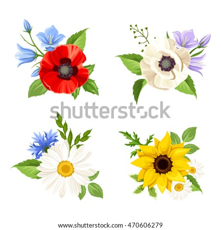 Vector set of colorful wild flowers: poppy, sunflower, harebell, daisy and cornflowers isolated on a white background.