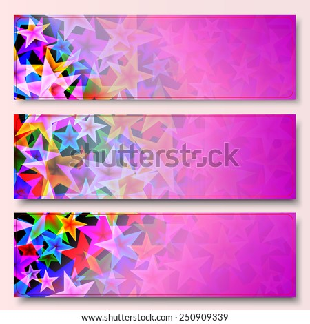 Vector set of colorfull banners with stars - stock vector