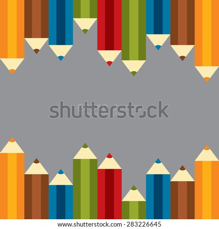 Vector : Set of Colourful Crayon, Coloured Pencils, Colored Drawing Pencils in a Variety of Colors - stock vector