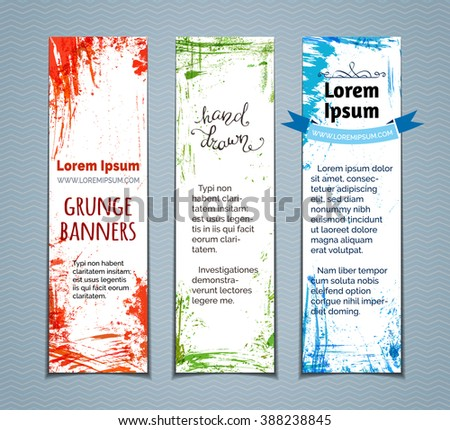 Vector set of colourful grunge vertical banners. Red, green and blue hand-drawn paint stains, flourishes and blots. There is place for your text on white area. - stock vector