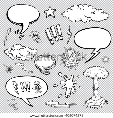 Vector set of comic bubbles and elements with halftone shadows