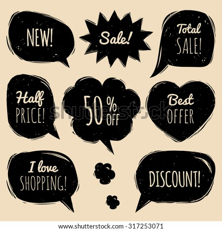 Vector set of comic sale speech bubbles in trendy flat style. Shopping phrases in speech bubbles: New, Sale, Half price,discount, I love shopping, Best offer, Total Sale - stock vector