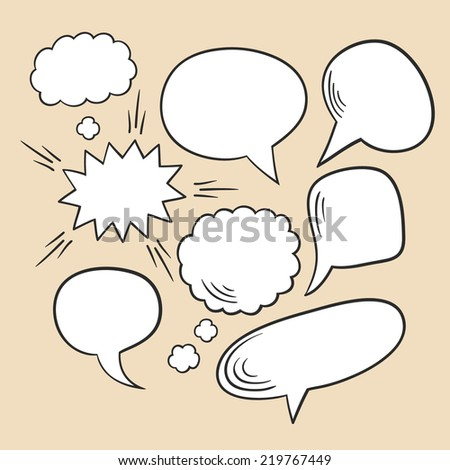 Vector set of comic speech bubbles - stock vector
