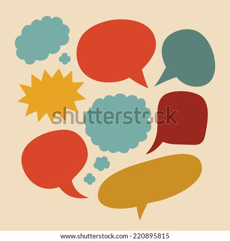 Vector set of comic speech bubbles in trendy flat style - stock vector