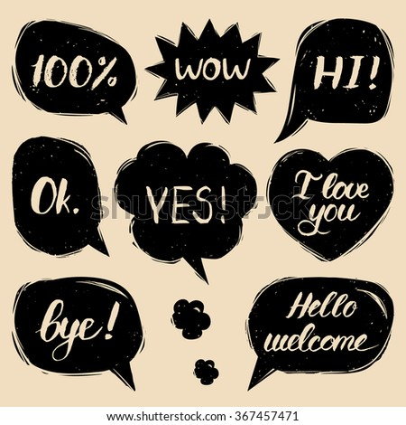 Vector set of comic speech bubbles in trendy flat style. Hand drawn black and white illustration of speech balloons with phrases Hi, Hello, I love you, Yes, Wow, Bye, Welcome, 100%, Ok. - stock vector