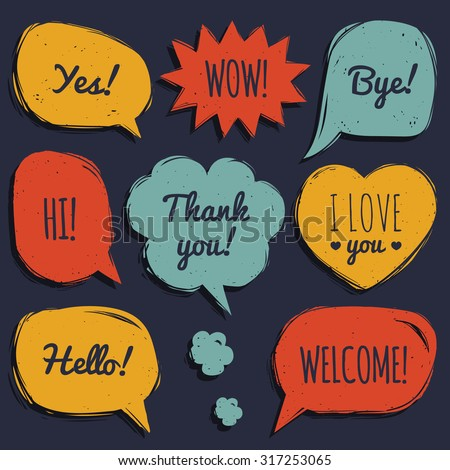 Vector set of comic speech bubbles in trendy flat style. Hand drawn set of speech balloons with phrases Hi, Hello, Thank you, Yes, Wow, Bye, Welcome, I love you. - stock vector