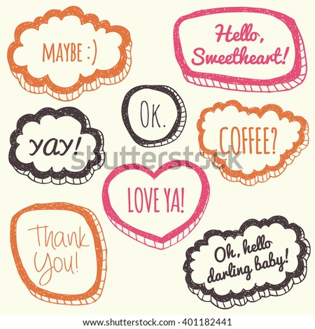 Vector set of comic speech bubbles in trendy flat style. Hand drawn set of speech bubbles. Comic quotes balloons with text. - stock vector
