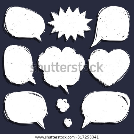 Vector set of comic speech bubbles in trendy flat style. Hand sketched blank speech balloons. - stock vector