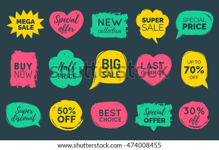 Vector set of comic speech bubbles Sale stickers. Discount card collection of Super Sale, Special Offer, 30%, 50%, 70% Off, Best Price etc. Hand drawn illustrations of labels and logos.