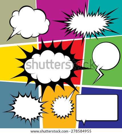 vector set of comics style speech and thought bubbles - stock vector