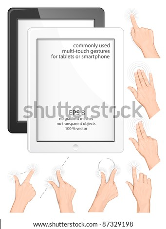 Vector set of commonly used multi-touch gestures for tablets or smartphone. Black and white tablets (smartphone) - stock vector
