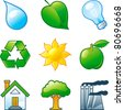 Vector set of  computer shine icons for environment. Part 4 - stock vector