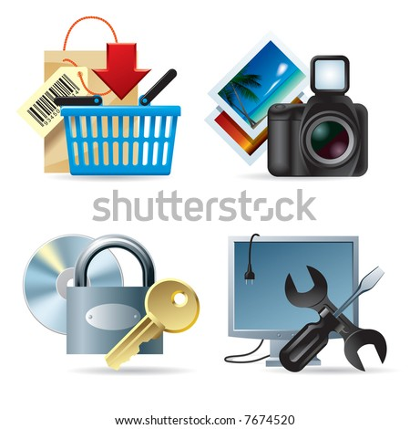 Vector set of computer & web icons II - stock vector
