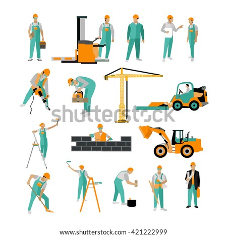 Vector set of construction workers isolated on white. People work on construction site Icons in flat style. - stock vector